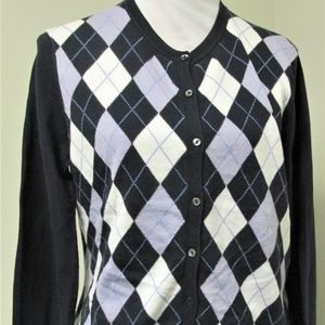 Brooks Brothers Women L/S Argyle Cardigan Size L